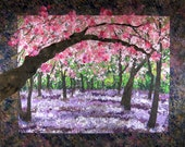 RESERVED for Theca - Quilted Cherry Blossom Wall Hanging Confetti Art Quilt