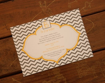 PRINTED Chevron B is for Baby Shower Invitation, Boy or Girl, set of 25