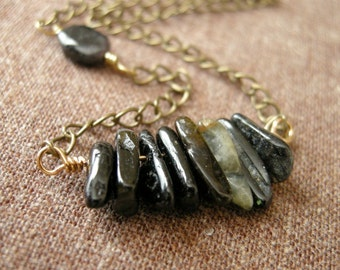 Dark Tourmaline Shard Brass Necklace/ Autumn Moody Modern Contrast Jewelry, Halloween Midnight Jet Black Earthy Rustic October Birthstone