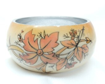 Vintage Bangle Bracelet with Enamel Flowers and Leaves