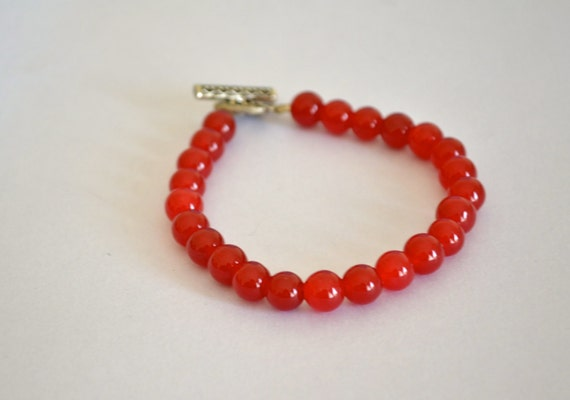 OOAK Red Jadite Bracelet, Silver Tone, Heart Clasp , CHAKRA Inspired, Made in the USA, Item No. De244