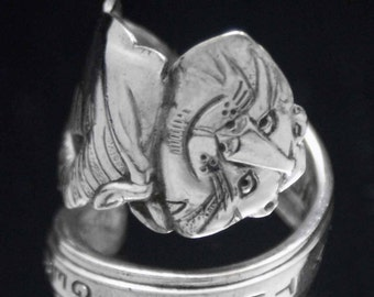 Spoon Ring, Vintage Tony the Tiger 1964 Novelty Spoon Ring  size 7, Silverware Jewelry