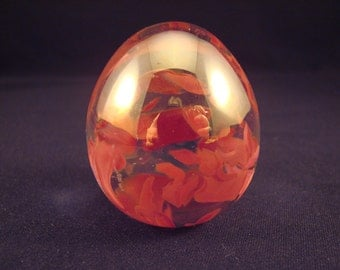 Lovely Vintage Mini Egg Art Glass Paperweight Signed LWS '85