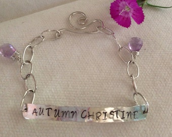 Sterling Silver Bracelet for Her.  Handmade.  Secret Message.Personalized Jewelry.  Hand Stamped. Reclaimed Silver. Custom.