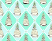 One Yard of Argyle Pineapple Fabric - Mint Green Baby Blue
