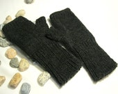 For Men...Fingerless Gloves, Mittens, Arm Warmers , Hand Knitted, Eco Friendly in charcoal gray