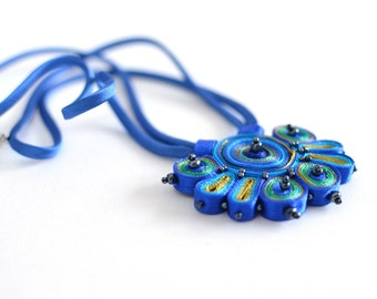 Textile necklace blue green, statement necklace, fiber pendant blue - Textile jewelry OOAK ready to ship
