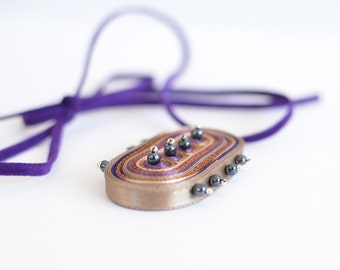Textile necklace beige, pendant beige purple, handmade necklace beaded, gift for her, gift for woman - Textile jewelry OOAK ready to ship