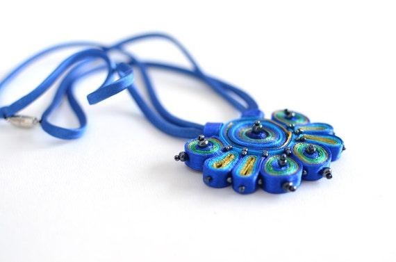 Textile necklace blue green, statement necklace, fiber pendant blue - Textile jewelry OOAK ready to ship