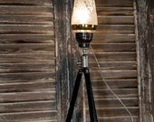 Table Lamp Upcycled Vintage Camera Tripod Alcohol Shaker Lamp