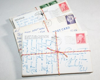 SALE Postcard Craft Pack - 25 Postmarked, Stamped and Written on Postcards - 1950s-1970s