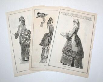 Three Antique Fashion Ads - 1872