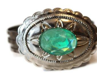 Western Cowboy Cowgirl Green Emerald Diamond Recycled Vintage Antique Bangle Layered Fashion Costume Bracelet