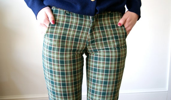70s Plaid Pants. Vintage Green Plaid Flared Trousers. Sears