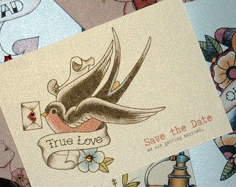 Swallow and love letter vintage tattoo save the date cards