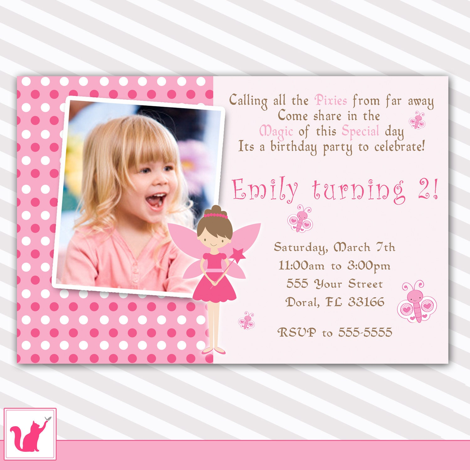 Design Your Own Home Online Nz Pink Fairy Birthday Invitation Custom Any Age Girl 1st