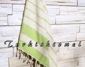NEW-Turkishtowel-High Quality,Hand Woven,Natural,Organic,Cotton Bath,Beach,Spa,Yoga,Travel Towel or Sarong-Cream,Apple,Lime Green