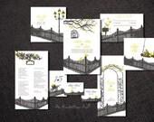 Wedding Invitation Set RUSTIC ROMANCE Printable Suite Diy Paper Goods Love Birds Save The Date Program Template Design Country Vintage Cheap