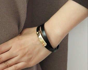 Minimal Leather Bracelet(Black)