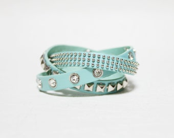 Rhinestone Stud Leather Bracelet(MINT)