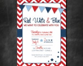 Red, White & Blue Birthday Party or BBQ Invitation