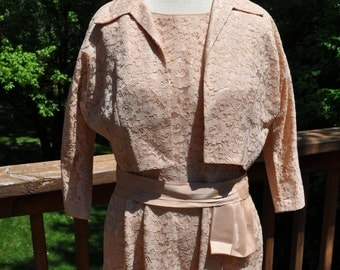 1960s Lace Dress. Neutral Mother of Bride Outfit. Mad Men Look. Cathy Gray designer dress. Dress with shrug.