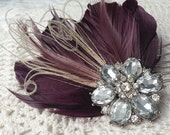 Merlot Feather Bridal Hair piece with crystal bling