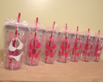bikini, bachelorette, Quantity 6 Personalized w/name acrylic tumbler, Available in skinny, standard, sport bottle, mason, kiddie & XL cup