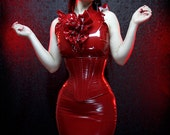 "27"" for 30""-32"" waist Crimson pvc Long underbust corset from Artifice Clothing (production sample)"
