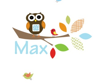 Children Vinyl Wall Decals-Branch with Owl Wall Decal