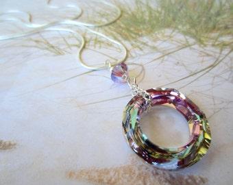 Sterling Slver Necklace-Swarovski Cosmic Ring-Shimmering Pastels
