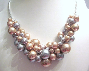 Pearl Cluster Necklace Set in Silver and Gold- Chunky, Choker, Bib, Necklace, Wedding, Bridal, Bridesmaid, Prom