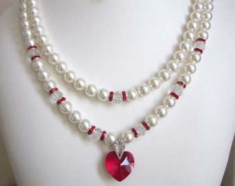 2-Strand Pearl Necklace - Swarovski Pearls and Crystal Heart Necklace - Perfect for Wedding, Prom or Formal, Brides,