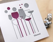 New year's card, Father's Day card, Cheers, thank you card, card for him, letterpress card retro wine glasses purple & silver made in Aus