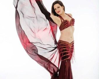 Nebula Design- Black and Red Silk Veil