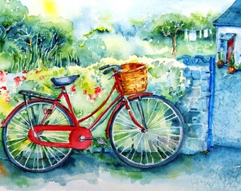 My Red Bicycle -Fine Art watercolour Print - Beautiful quality in several sizes -