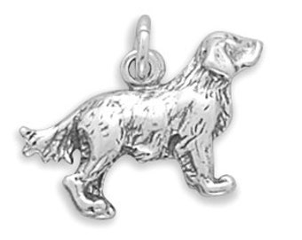 Sterling Silver Dog Golden Retriever Charm Pendant 3D