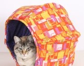Cat Ball Modern Kitty House Cave Bed in Orange