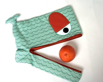 Wavy Whale laptop sleeve, lightly padded, 15 inch, jade green and orange , LAST PIECE !- ready to ship