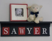 "NAVY and RED Nursery Wall Decor / Room Decor - Personalized for Baby SAWYER on 24"" Navy Shelf with 6 Red and Navy Blue Wall Letters"