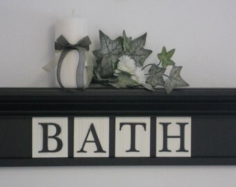 BATH Shelf - Wall Shelf - Home Decor - Black Shelf - Wooden Letter Block Tiles - Personalized with Name or BATH