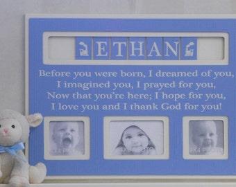 Baby Boy Nursery Decor, Personalized Baby Picture Frame, Custom Children Photo Frame - Light Blue