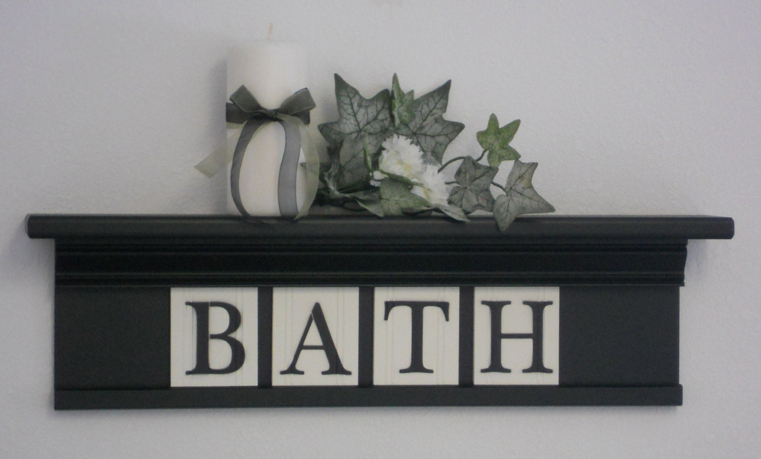 Wall Shelf Home Decor : Bath shelf wall home decor black wooden