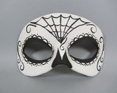 Day of the Dead Spiderweb 2 Black and White Leather Mask, Unisex