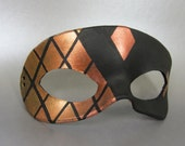 Gold Stained Glass Tiled Imperfect Leather Masquerade Mask, Unisex