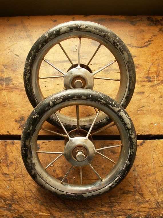 Pair Of Vintage Rubber Wire Spoke Wheels Baby Buggy Wheels