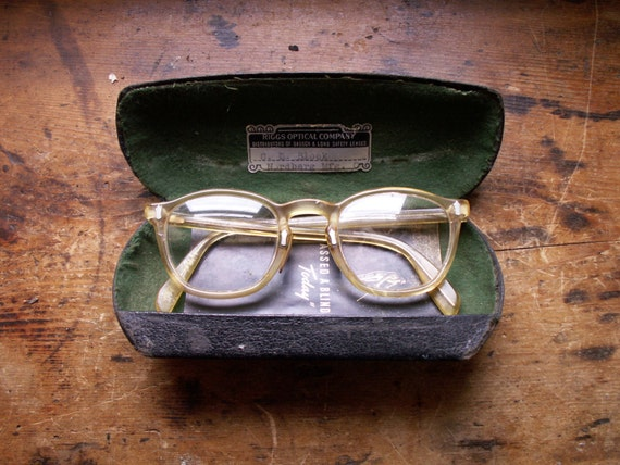 15d3f265294 Vintage Bausch and Lomb Amber Safety Glasses in Case