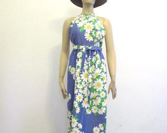 Vintage 60's Daisy Print Malia Dress Maxi small