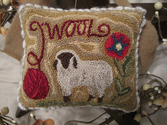 Primitive Punch Needle Wool Yarn Sheep Amp Floral Pin By
