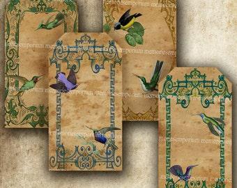 Shabby Chic Hummingbird Hang Tags Swing Gift Hang Tags Cards DIY Exotic Birds Decoupage Digital Collage Sheet Printable 156